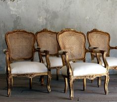 gold gilt interiors | Vintage Gold Cane Gilt Louis XV French Style Upholstered Open- Arm ...
