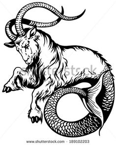 capricorn astrological zodiac sign, black and white tattoo image