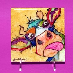 Alcohol Ink Art Painting An Original Moo Cow 4x 4 by YakiArtist