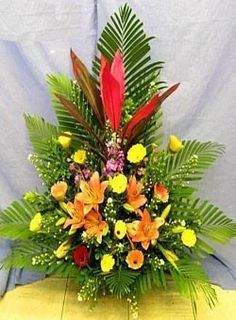Funeral Floral Arrangements, Creative Flower Arrangements, Tropical Flower Arrangements, Church Flower Arrangements, Beautiful Flower Arrangements, Tropical Flowers, Deco Floral, Arte Floral, Beautiful Love Flowers