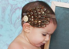 Pheasant Feather Headband..Vintage Wedding..Brown and Tan Headband Fashion for Little Girls and Women..Children Accessories