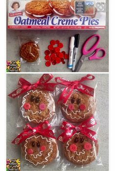 Gingerbread doll Christmas snack. Store bought treat for kids. Oatmeal Creme Pie. SO CUTE!