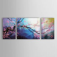 Hand-painted Abstract Oil Painting with Stretched Frame - Set of 3 -- $120