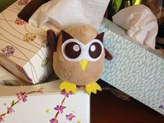 Owly is ready to help his friend battle a cold. Day 60 of #yearofowly #lifeofowly