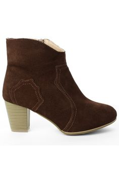 Suede Leather Ankle Boots in Camel