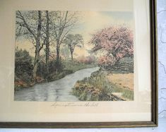Framed Litho Print Titled Springtime in the Dell   Etsy Neighborhood Garage Sale, Wallace Nutting, Litho Print, Pastel Shades, Black Accents, Farmhouse Chic, Hand Coloring, Spring Time, Art Photography