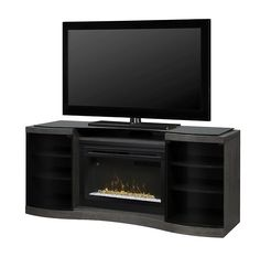 Dimplex Acton 72 Inch Wide Media Console With 2661 Btu Electric Fir Silver Charcoal Fireplace