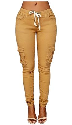 Womens Elastic Waist Drawstring Jogger Pants Casual Solid Cargo Pocket Pencil Pants *** You can get additional details at the image link. (This is an affiliate link) #WomenKhakiPants