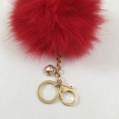 Semi-annual SALE Rusty Orange Fur Pom Pom keychain ball luxury bag pendant  with clear crystal charm 205dccb2663a3
