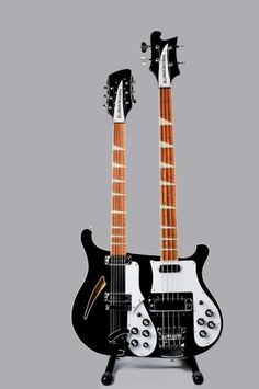 Rutherford Double-Neck This guitar, a replica of one of the double-necks used by Mike Rutherford of Genesis, started as a combination of contemporary 360/12 and a 4003, but early in the process the basis for the guitar side changed to a 660/12 to more closely reflect the design of the Rutherford guitar.