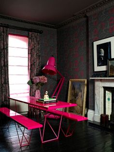 incredible neon pink table, benches, and lamp via Abigail Ahern in house to home Diy Interior, Interior Exterior, Interior Decorating, Decorating Ideas, Decor Ideas, Decorating Websites, Bathroom Interior, Kitchen Interior, Home Design