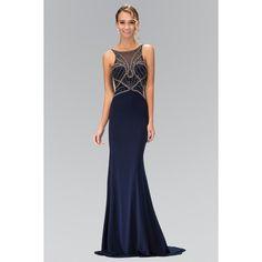 Elizabeth K GL1360P Embellished Racer Neckline Floor Length Prom Dress... ($238) ❤ liked on Polyvore featuring dresses, gowns, navy blue dress, navy blue evening dress, navy blue evening gown, floor length prom dresses and jersey dress