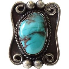 Old Navajo Turquoise Ring Size 5.75 Sterling Silver Native American