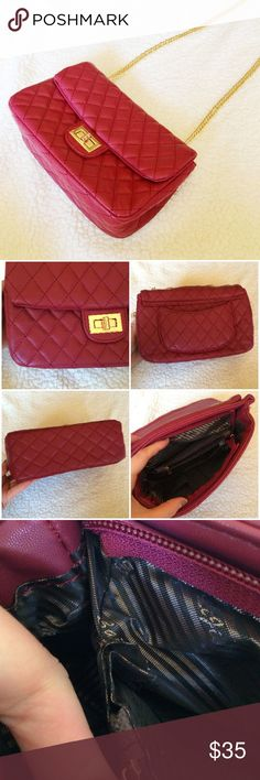 Maroon/Dark Red Quilted Crossbody This bag is in great condition! The buckle has some scratches, and there is one tiny mark in the front, but it is not noticeable. Gold detailing. The face is 5.5in. x 9in. & and the bottom is 3.5in. x 9in.  ✅Reasonable offers welcome! ✅BUNDLE DISCOUNTS! No trades/paypal/other apps. No lowball offers. Bags Crossbody Bags