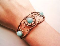 Bracelet Wire Wrapped Copper and Blue Aquamarine Agate -wire wrapped jewelry handmade