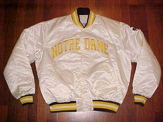 Starter NCAA ACC Notre Dame Fighting Irish White Yellow Nylon Button Jacket XL #NotreDame