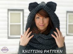 KNITTING PATTERN Hooded Cat Cowl, Cat Ears Hooded Infinity Scarf Knitting Pattern, Knit Hooded Animal Scarf Pattern Cat Beanie Hat Pattern