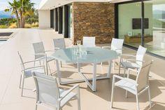 Table octogonale Olympe verre galet 8 places - Aluminum, Verre trempé - Hespéride galet  399.00 € + 60 €/ chaise