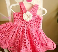 Adorable pink crochet girl dress for any special occasion. Your little baby girl will look so beautiful in this summer clothes with cute white