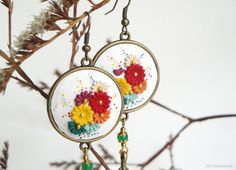 Earrings with white background and colorful by DZHandmadeProducts, $35.00