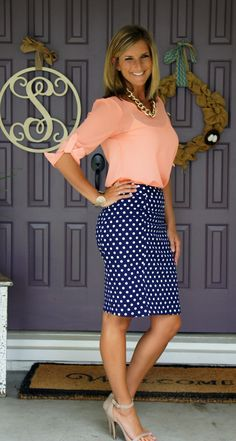 Pixley June polka dot skirt, appreciate fitted midi style great for work or date night, love navy w white dots in general.   :)  Please no coral!