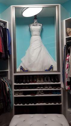My wedding dress display case in master closet<br> Wedding Dress Shadow Box, Wedding Dress Frame, Wedding Dress Display, Wedding Dress Storage, Wedding Frames, Wedding Dresses, Wedding Dress Preservation, Dressing Room Closet, Walking Closet