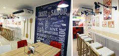 Diseño de locales de la nueva imagen de Telepizza Internacional. Locales de transición.