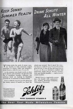 So to keep slim, we should make sure we drink Schlitz beer all winter long. How long did it take the public to realize that after drinking beer for 3 or 4 months, they ended up lots fatter by spring? Well, on the up side, just have another beer & soon that realization will be just a dim memory. ;)  1936 schlitz ad