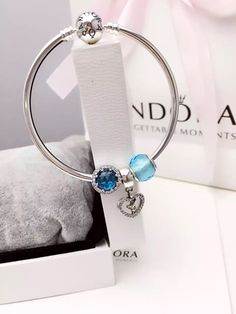 50% OFF!!! $119 Pandora Bangle Charm Bracelet Blue. Hot Sale!!! SKU: CB02043 - PANDORA Bracelet Ideas