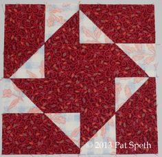 """Turnabout Block made using 5"""" squares by Pat Speth of Nickel Quilts"""
