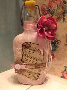 Vintage Glass Bottle decorated Shabby Chic by TiffinyBrooks at Etsy. $25