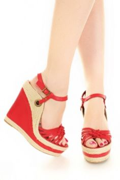 $29    These have GOT to be one of the hottest beach/spring wedges out there! Sexy and unique with the side grommet attachment and the beige and red color blocking- sexy! sexy! sexy! ...and cute and sweet and perfect with white, red, blue and beige outfits... especially with any multi-print that includes bright red in it!! remeber to accessorize!!