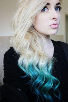 Turquoise Dip-Dye Hair