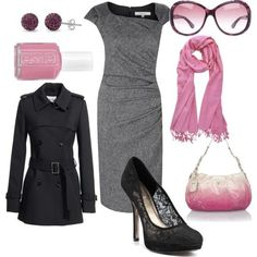 Cute Pink, Grey & Black Dressy Outfit | I included the name & designer for the items sold on sites having technical issues so you could look for them somewhere else.