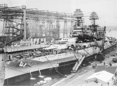 "tin-can-sailor: ""  Circa 1929-1931, USS Arizona (BB-39) undergoing modernization…"