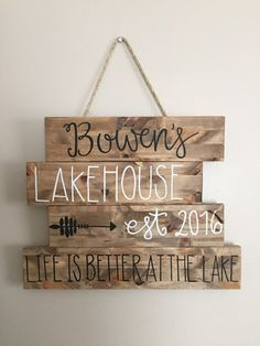 Rustic wood house sign lake house sign beach by LoveBirdsChic