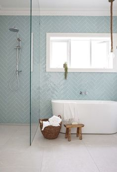 I love the tile pattern and and colour in this pin although probably just to be used in the shower area. Tap the link now to see where the world's leading interior designers purchase their beautifully crafted, hand picked kitchen, bath and bar and prep faucets to outfit their unique designs.
