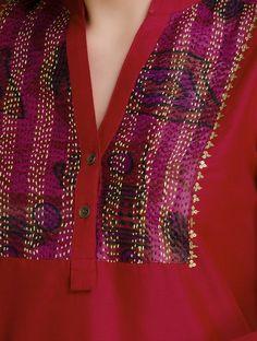 Red Kantha Embroidered Yoke & Sequin Detailed Cotton-Silk Kurta by Firroza