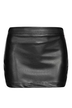 Black Leather Mini Skirt With Zipper Back