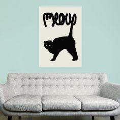 Black Cat Wall Sticker Decal - Meow by Florent Bodart