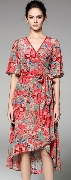 Ethnic V-Neck Half Sleeve Floral Print A-Line Dress