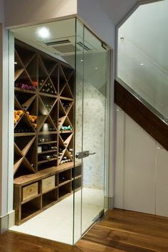 home built in wine storage   Clever-Contemporary-Wine-Storage-under-Stairs-with-One-Side-Built-in ...