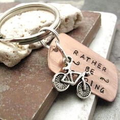 Rather Be Riding Bike Key Chain, swivel lobster clasp avail in lieu of split ring. $14,95, via Etsy.