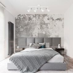 Shop for Aurora Matte White Track Lighting Kit, Brushed Steel Accents. Get free delivery On EVERYTHING* Overstock - Your Online Ceiling Lighting Store! Luxury Bedroom Design, Interior Design, Bedroom Designs, Modern Luxury Bedroom, Modern Bedrooms, Modern Bedroom With Wallpaper, Girl Bedrooms, Bedroom Styles, Bedroom Furniture