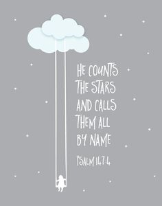 $5.00 Bible Verse Print - He counts the stars and calls them all by name. Psalm 147:4 That's how grand God is! He knows all the stars by name. This verse just shows how much God cares about us, how much He knows us, how much He loves us. We matter to Him far beyond the stars. -Different size options available. #childrensprint #nurserywallart #nurserydecor #childrensdecor #psalm147 #childrensprint #hecountsthestarsandcallsthemby name #cloudprint #bibleversedecor #bibleverseprint #kidsdecor