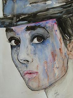 Audrey Hepburn- Abstract Watercolor painting by Ismeta Greunwald