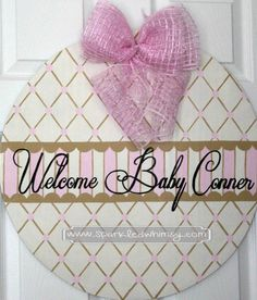 This personalized, hand-painted, wooden, door hanger welcomes your new addition! This can be used in the hospital and when you bring your bundle of joy home as well. Ideas for display: * Front/Back Door * Nursery * Hospital Door Personalized Baby Announcement Door Hanger Sign by SparkledWhimsy, $35.00