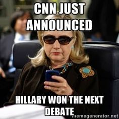 Wouldn't ya know... Cnn and all its followers are gonna say she won- no surprise there folks
