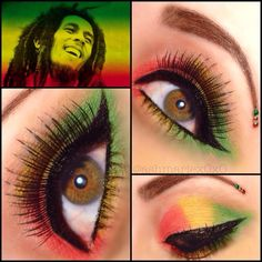 Bob Marley Inspired For the next Reggae Concert Eye Makeup Tips, Eyeshadow Makeup, Beauty Makeup, Makeup Ideas, Bob Marley Nails, Rasta Wedding, Rasta Party, Rasta Nails, Reggae Concerts